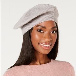 Charter club cashmere with rhinestone beret grey